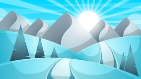 Cartoon winter landscape. Cloud, mountain, road, hill, fir illustration. Cartoon winter landscape. Cloud, mountain, road, hill fir illustration Vector eps 10 Stock Photo
