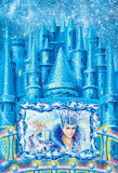 Cartoon winter landscape the house for fairy tale Snow Queen written by Hans Christian Andersen. illustration Royalty Free Stock Photography