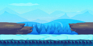 Cartoon winter landscape with ice, snow and cloudy sky. vector nature background for games. Royalty Free Stock Images