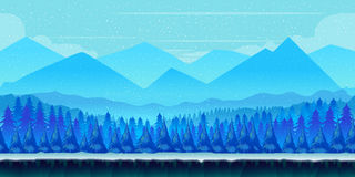 Cartoon winter landscape with ice, snow and cloudy sky. vector nature background for games. Royalty Free Stock Photo