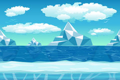 Cartoon winter landscape with ice and snow for. Cartoon winter landscape with iceberg and ice, snow and cloudy sky. Seamless vector nature background for games Stock Photo