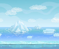 Cartoon winter landscape with iceberg and ice, snow sky. Seamless vector nature background for UI games. Royalty Free Stock Image