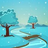Cartoon Winter Landscape Stock Image