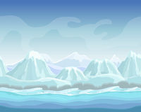 Cartoon winter landscape with snow mountains Seamless vector nature background for games. polar environment illustration Royalty Free Stock Image