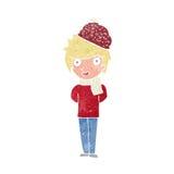 Cartoon winter man Stock Images
