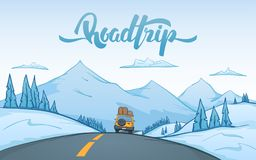Cartoon winter mountains landscape with travel car rides on the road and handwritten lettering of Road Trip. Vector illustration: Cartoon winter mountains Stock Photos