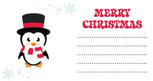Cartoon winter penguin christmas card Royalty Free Stock Images