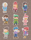 Cartoon winter people stickers Royalty Free Stock Photos