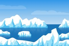 Cartoon winter polar arctic or antarctic ice landscape with iceberg in sea vector illustration. Ice berg in ocean, glacier arctic illustration stock illustration