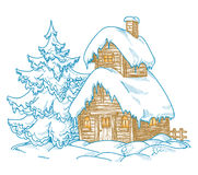 Cartoon winter scene Royalty Free Stock Image