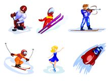 Cartoon winter sports. Separated cartoon peoples in winter sports appearance Stock Photos
