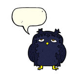cartoon wise old owl with speech bubble Stock Photo