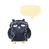 cartoon wise old owl with speech bubble Royalty Free Stock Photos