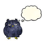 cartoon wise old owl with thought bubble Stock Images