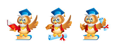 Cartoon wise owl teacher or professor character. Cute cartoon owl mascot with a book, graduate cap and diploma Royalty Free Stock Photos