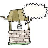 Cartoon wishing well with speech bubble Stock Photos