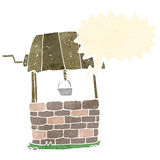 Cartoon wishing well with speech bubble Royalty Free Stock Photography