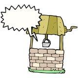Cartoon wishing well with speech bubble Royalty Free Stock Photos