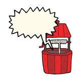 Cartoon wishing well with speech bubble Stock Image
