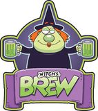 Cartoon Witch Brew Label. A cartoon illustration of a monk with two mugs of witch`s brew stock illustration