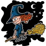 Cartoon witch on a broom Royalty Free Stock Photos
