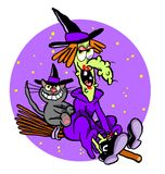 Cartoon witch on broom Royalty Free Stock Images