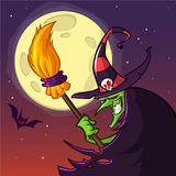 Cartoon witch with a broom. Halloween vector illustration isolated on scary night background with full moon. Poster or greetings card Stock Photo