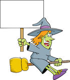 Cartoon witch on a broom holding a sign. Stock Photography