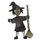 Cartoon witch with broomstick Stock Images