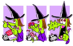 Cartoon witch. Cartoon caricature of witch applying wart cream before Halloween party Stock Photography