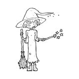 Cartoon witch casting spell Royalty Free Stock Images