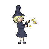 Cartoon witch casting spell Stock Photos