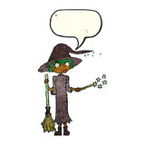Cartoon witch casting spell with speech bubble Royalty Free Stock Photos