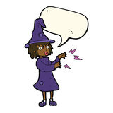 Cartoon witch casting spell with speech bubble Stock Image