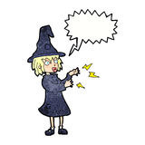 Cartoon witch casting spell with speech bubble Royalty Free Stock Image