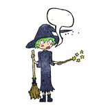 Cartoon witch casting spell with speech bubble Royalty Free Stock Images