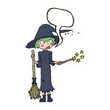 Cartoon witch casting spell with speech bubble Stock Photo