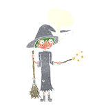 Cartoon witch casting spell with speech bubble Royalty Free Stock Photo
