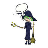 Cartoon witch casting spell with speech bubble Stock Photography