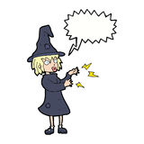 Cartoon witch casting spell with speech bubble Stock Images