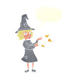 Cartoon witch casting spell with speech bubble Stock Photos