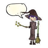 Cartoon witch casting spell with speech bubble Royalty Free Stock Photography