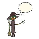 Cartoon witch casting spell with thought bubble Stock Photography