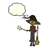 Cartoon witch casting spell with thought bubble Royalty Free Stock Photos