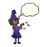 Cartoon witch casting spell with thought bubble Royalty Free Stock Photography