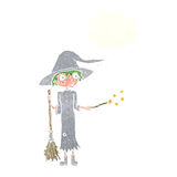 Cartoon witch casting spell with thought bubble Royalty Free Stock Images
