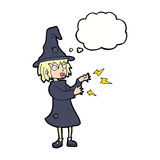 Cartoon witch casting spell with thought bubble Royalty Free Stock Image