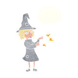 Cartoon witch casting spell with thought bubble Stock Images