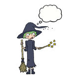 Cartoon witch casting spell with thought bubble Stock Image