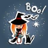 Cartoon witch and cat Stock Photos